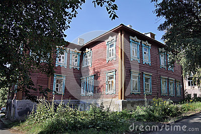A Two Storey Wooden House In Penza Editorial Photo Image