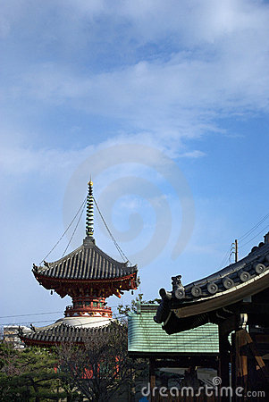Two-storied pagoda and the winter sky of Japan