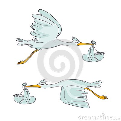 Two stork flying with children