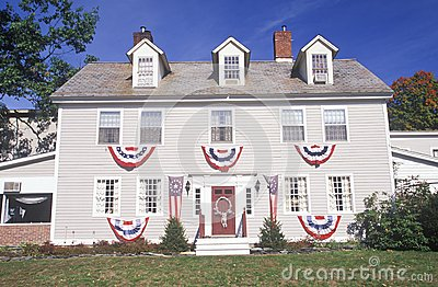 Two-story home Draped in Bunting