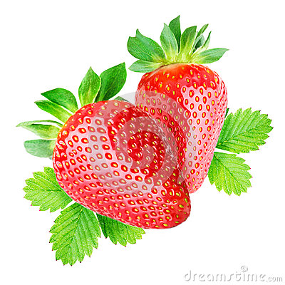 Free Two Strawberries Isolated Royalty Free Stock Photography - 71136247