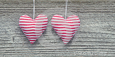 Two Striped Fabric Hearts