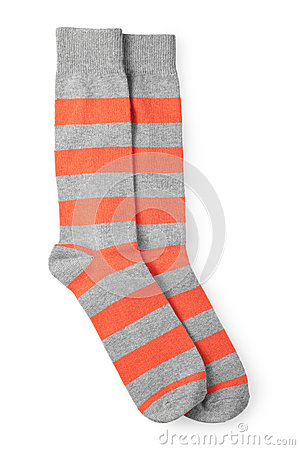 Two striped orange and gray socks isolated