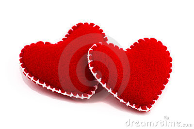 Two stuffed hearts together