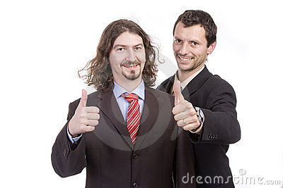Two successful business men with thumb up