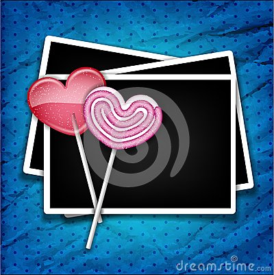Two sugar hearts with photo frames