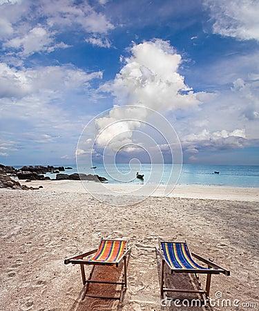 Two sun beach chairs