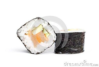 Two sushi maki rolls
