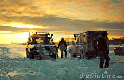 Two SUV on snow Editorial Image