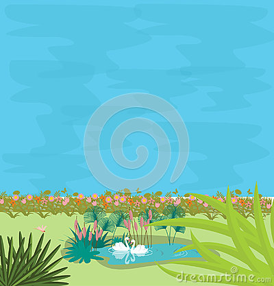 Two swans in small pond in the midle of greens illustration of couple love Vector Illustration