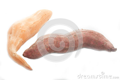Two sweet potatoes isolated
