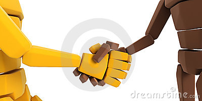 Two symbolic hand make an agreement