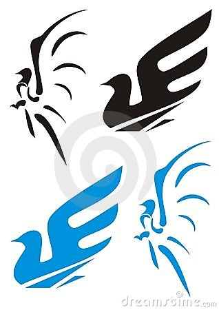 Two symbols of a dove (black and blue)