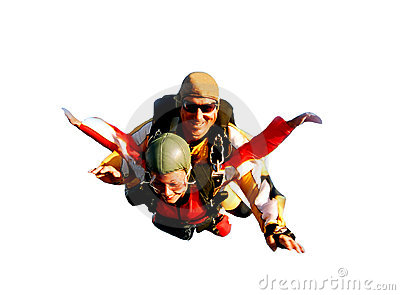 Two tandem skydivers in action