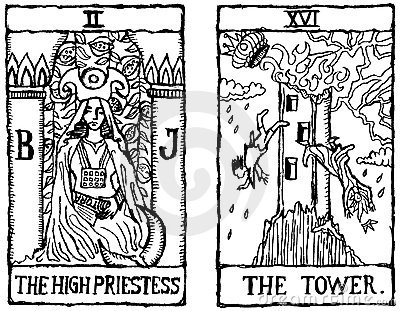 Two Tarot Cards outline v.2