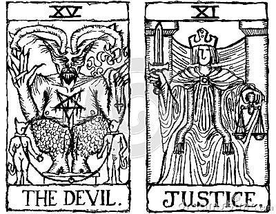 Two Tarot Cards outline v.3