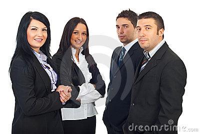 Two teams of business people