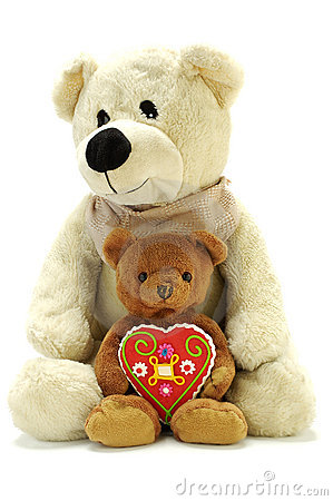 Two teddy bears with sweet heart