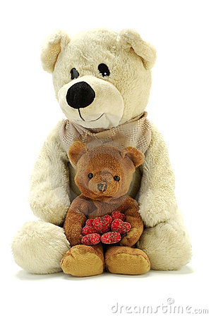 Free Two Teddy Bears With Hearts Royalty Free Stock Image - 1847506