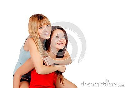 Two teen sisters