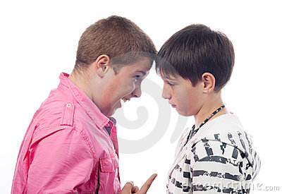 Two teenage boys arguing and screaming