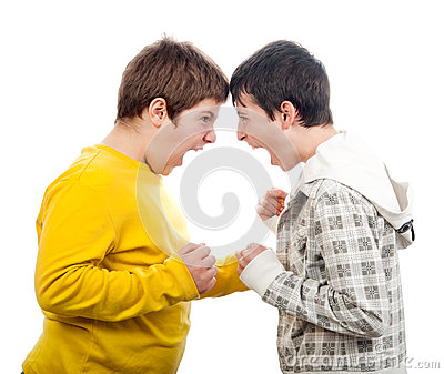 Two teenage boys screaming at each other
