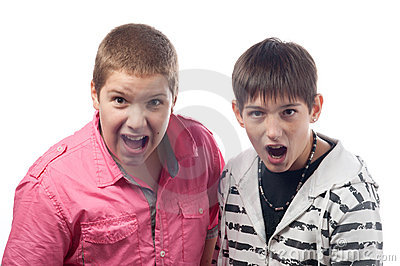 Two teenage boys shouting and screaming