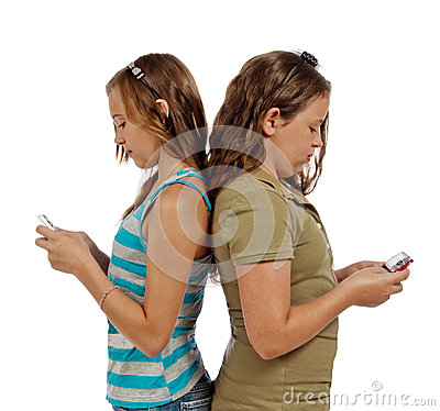 Teenage Girls Text Messaging Instead Of Talking