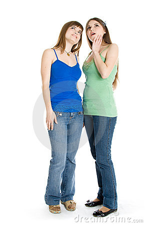 Free Two Teenage Girls Looking Up Royalty Free Stock Photography - 8735527