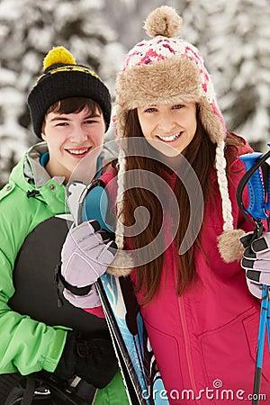 Two Teenagers On Ski Holiday