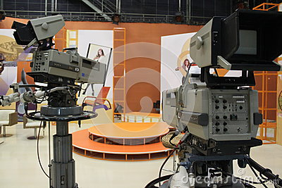 Television cameras in studio Editorial Image
