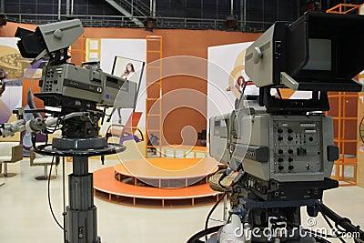 Television cameras in studio Editorial Image