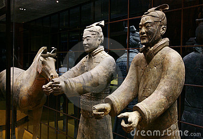 Two terracotta soldier and hor