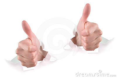 Two Thumbs Up on White