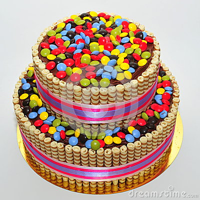 Free Two Tier Chocolate Decorated With Finetti Sticks And Colorful Candy Stock Photo - 42064760