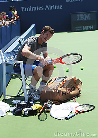 Two times Grand Slam champion Andy Murray after practice for US Open 2013 at Louis Armstrong Stadium Editorial Photography