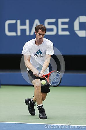 Two times Grand Slam champion Andy Murray practices for US Open 2013 at Billie Jean King National Tennis Center Editorial Photography