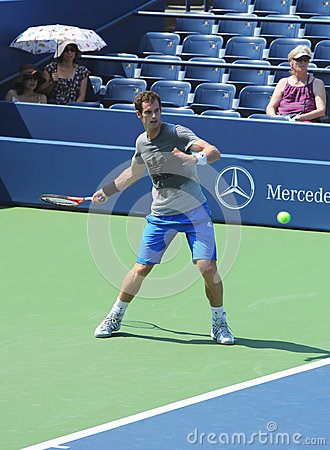 Two times Grand Slam champion Andy Murray practices for US Open 2013 at Louis Armstrong Stadium Editorial Stock Image