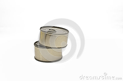 Two tin with food isolated