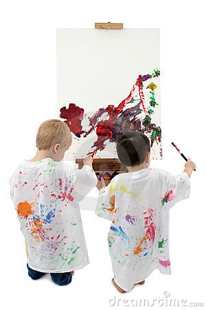 Free Two Toddler Boys Painting At Easel Royalty Free Stock Images - 299999