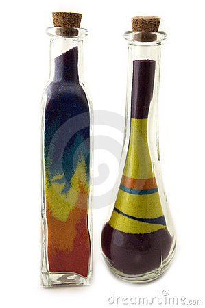 Free Two Toll Bottles With Colorful Sand Stock Images - 570854