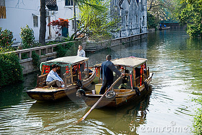 Two tourist boats at the canal of Suzhou Editorial Photo