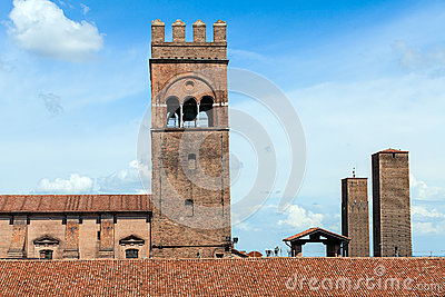 Two towers of bologna in a sunny day