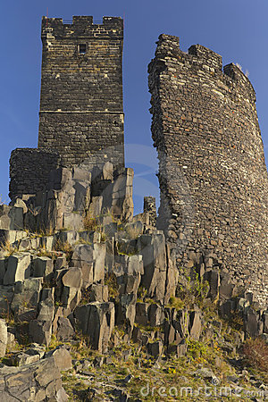 Two towers of  castle named Hazmburk