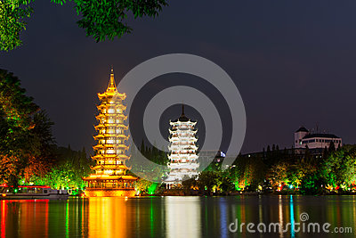 Two towers in Guilin China at night
