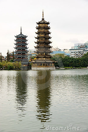 Two towers in lake
