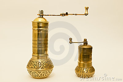 Two Traditional Brass Coffee Or Spice Grinders