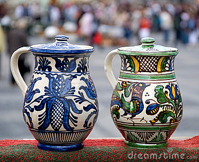 Two traditional romanian jugs