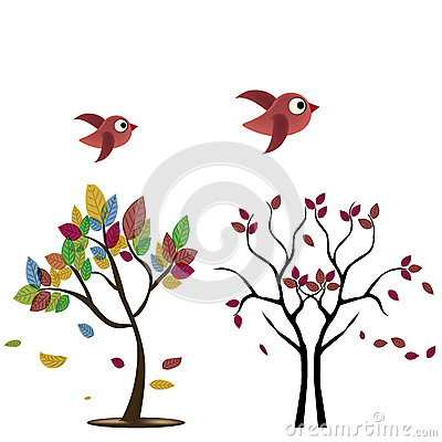 Two trees with birds