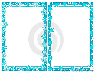 Two turquoise frames